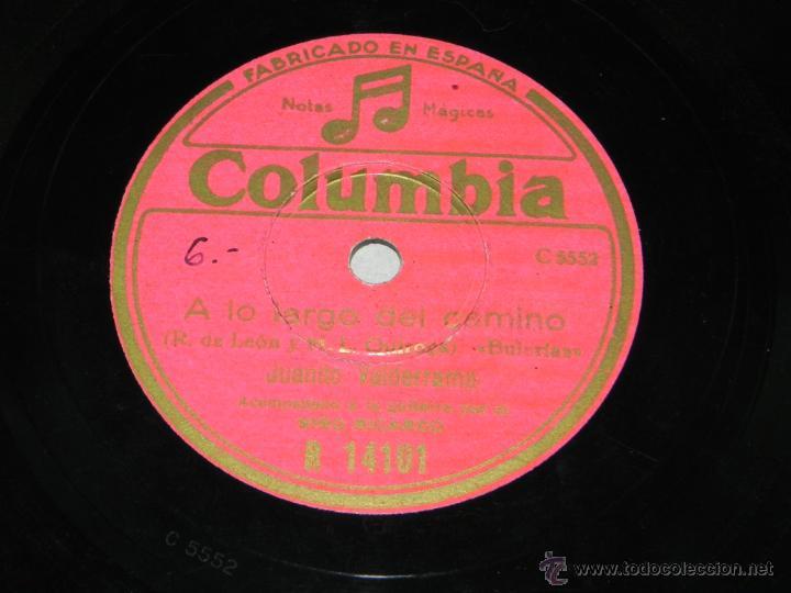 DISCO DE PIZARRA. JUANITO VALDERRAMA ACOMPAÑADO A LA GUITARRA POR NIÑO RICARDO, COLUMBIA R 14101, A (Música - Discos - Pizarra - Bandas Sonoras y Actores )