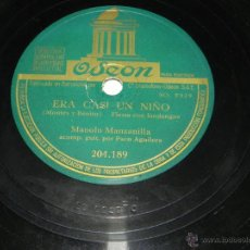 Disco de pizarra. MANOLO MANZANILLA, acompañado a la guitarra por Paco Aguilera, ODEON 204.189, ERA