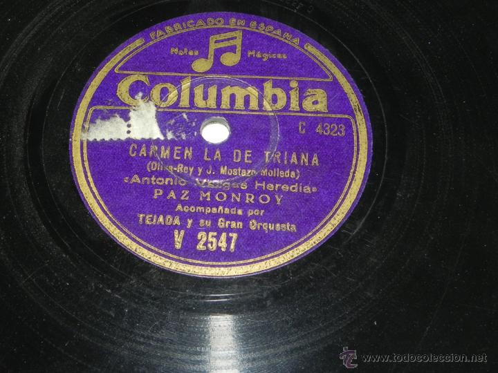 Discos de pizarra: Disco de pizarra. PAZ MONROY, COLUMBIA V 2547, CARMEN LA DE TRIANA, LOS PICONEROS y ANTONIO VARGAS H - Foto 2 - 43006784