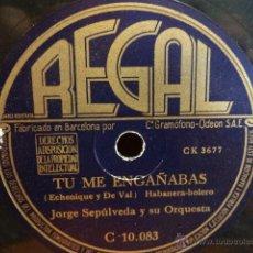 Discos de pizarra: PIZARRA !!JORGE SEPÚLVEDA.TU ME ENGAÑABAS / ME GUSTA IR CONTIGO. PIZARRA 25 CM. SELLO REGAL. NORMAL.. Lote 43205422