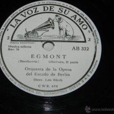 Discos de pizarra: DISCO DE PIZARRA DE LA ORQUESTA DE LA OPERA DEL ESTADO DE BERLIN, EGMONT (BEETHOVEN), ED. LA VOZ DE . Lote 43467437
