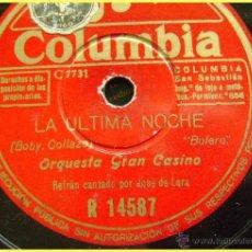 Discos de pizarra: DISCO DE PIZARRA COLUMBIA R14587. ORQUESTA GRAN CASINO: LA ÚLTIMA NOCHE / NOCHE DE RONDA.. Lote 43644802
