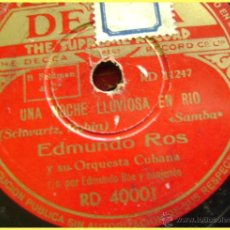 Discos de pizarra: DISCO DE PIZARRA DECCA RD40001. EDMUNDO ROS Y ORQUESTA: NOCHE LLUVIOSA EN RÍO / TOREADOR. Lote 43644981