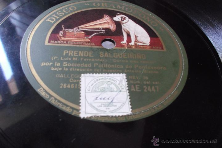 PRENDE SALGUEIRIÑO. ROMANCE DE DOÑA ALDA. POR LA SOCIEDAD POLIFÓNICA DE PONTEVEDRA (GALICIA) DISCO (Música - Discos - Pizarra - Flamenco, Canción española y Cuplé)