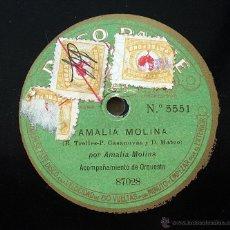 Discos de pizarra: DISCO PATHE - AMALIA MOLINA, SOLEARES - POR AMALIA MOLINA. Lote 43897804