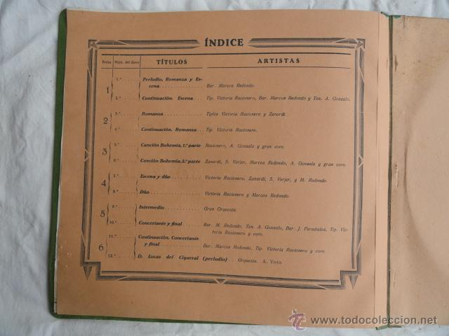 Discos de pizarra: ALBUM DISCOS DE PIZARRA ODEON. BOHEMIOS. - Foto 6 - 44131225