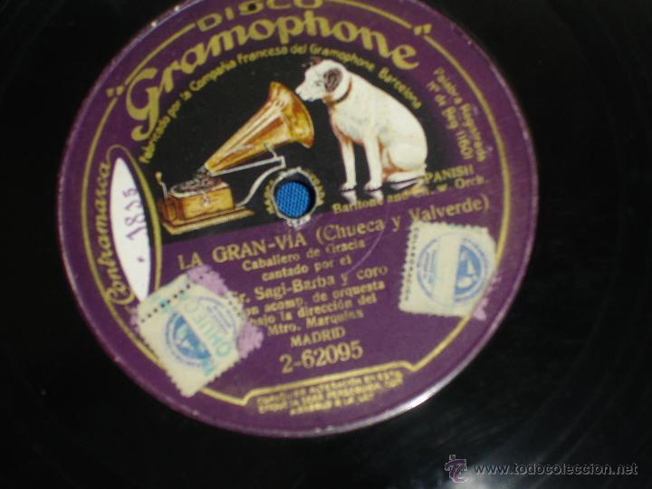 Discos de pizarra: SAGI-BARBA Y ORQUESTA DIRIGIDA POR CALLEJA- EL GUITARRICO/ LA GRAN VIA - DISCO GRAMOPHONE - Foto 2 - 44194182