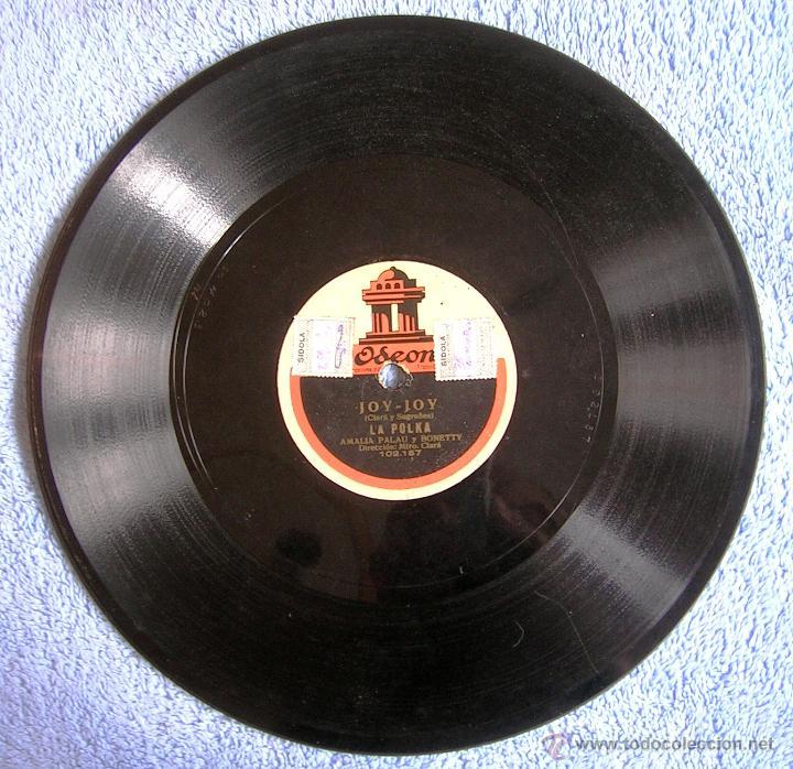 DISCO 78 RPM PIZARRA - JOY-JOY TEATRO COMICO, DE BARCELONA. VICENTE QUELART, AMALIA PALAU Y BONETTY. (Música - Discos - Pizarra - Bandas Sonoras y Actores )