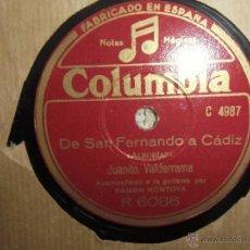 Discos de pizarra: FLAMENCO, JUANITO VALDERRAMA,. Lote 44323310