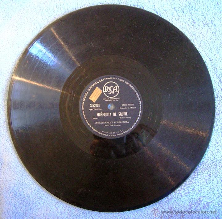 DISCO 78 RPM PIZARRA - LUIS ALCARAZ Y SU ORQUESTA - MUÑEQUITA DE SQUIRE (BLUES). PRISIONERO DEL MAR. (Música - Discos - Pizarra - Bandas Sonoras y Actores )