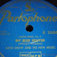 Discos de pizarra: ARTIE SHAW & HIS NEW MUSIC ( MY BLUE HEAVEN - BECAUSE I LOVE YOU ) SWING SERIES PARLOPHONE. Lote 44483301