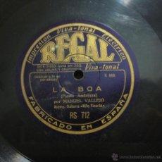 Discos de pizarra: MANUEL VALLEJO - ACOMP. GUITARRA NIÑO RICARDO - DONDE YO ME PUEDA IR / FIESTA ANDALUZA -PIZARRA -. Lote 45015250