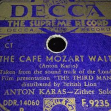 Discos de pizarra: ANTON KARAS FILM ''THE THIRD MAN'' ( THE ''HARRY TIME'' THEME - THE CAFE MOZART WALTZ ) DECCA. Lote 45084970