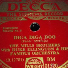 Discos de pizarra: THE MILLS BROTHERS WITH DUKE ELLINGTON & HIS FAMOUS ORCHESTRA ( DIGA DIGA DOO - I CAN'T GIVE YOU A. Lote 45086273
