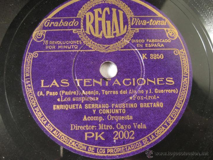 Discos de pizarra: DISCO REGAL DE PIZARRA LAS TENTACIONES - A. PASO PADRE - ASENJO - TORRES DEL ALAMO Y J. GUERRERO - Foto 2 - 45396203