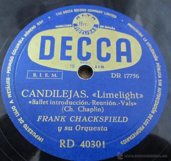 Discos de pizarra: FRANK CHACKSFIELD -- Candilejas - Foto 2 - 46111671