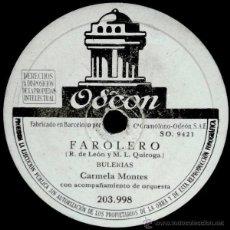 Discos de pizarra: CARMELA MONTES - FAROLERO (BULERIAS) / EL TORMENTO DE LOS CELOS (TANGUILLO). Lote 46576284