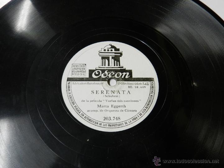 DISCO DE PIZARRA DE MARTA EGGERTH DE LA PELICULA VUELAN MIS CANCIONES AVE MARIA - SERENATA ODEON 203 (Música - Discos - Pizarra - Bandas Sonoras y Actores )