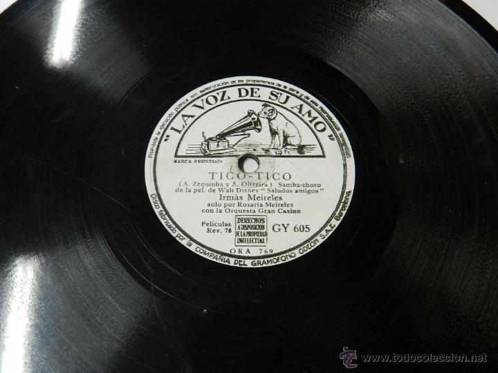 DISCO DE PIZARRA ADIOS (BOLERO ESPAÑOL) / TICO-TICO, DE LA PELI WALT DISNEY SALUDOS AMIGOS, POR IRMA (Música - Discos - Pizarra - Bandas Sonoras y Actores )