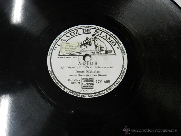 Discos de pizarra: DISCO DE PIZARRA ADIOS (BOLERO ESPAÑOL) / TICO-TICO, DE LA PELI WALT DISNEY SALUDOS AMIGOS, POR IRMA - Foto 3 - 46690809