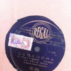 Discos de pizarra: DISCO DE PIZARRA (CELIA DEZA) SEGADORA - RECUERDO.. Lote 158674029