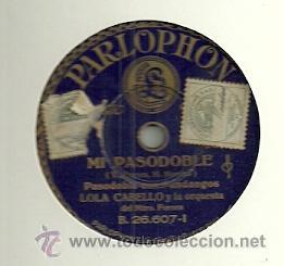 LOLA CABELLO Y LA ORQUESTA DEL MAESTRO FORNES PIZARRA DEL SELLO PARLOPHON (Música - Discos - Pizarra - Flamenco, Canción española y Cuplé)