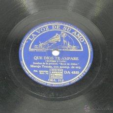 Discos de pizarra: DISCO DE PIZARRA DE MARUJA TOMAS - QUE DIOS TE AMPARE + RAFAEL MEDINA. EL VIENTO SE LO LLEVO, DA 433. Lote 48085706