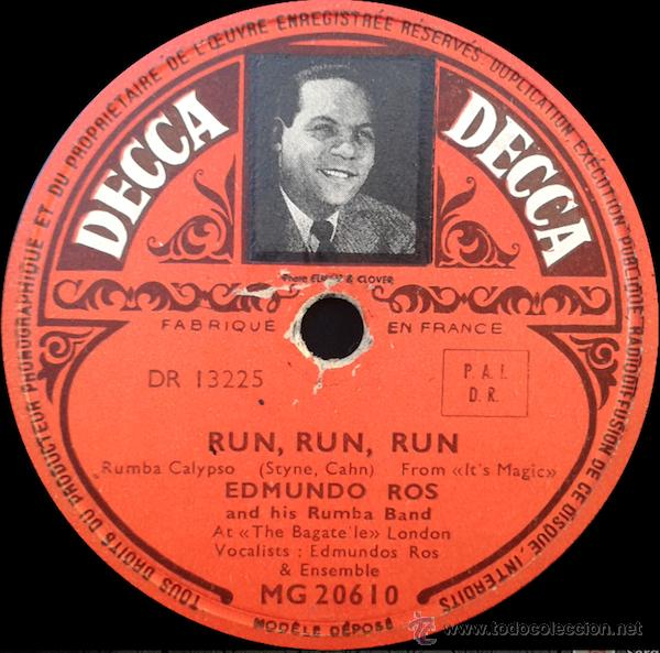 EDMUNDO ROS AND HIS RUMBA BAND - RUN RUN RUN / THE TOURIST TRADE (78RPM) (Música - Discos - Pizarra - Jazz, Blues, R&B, Soul y Gospel)