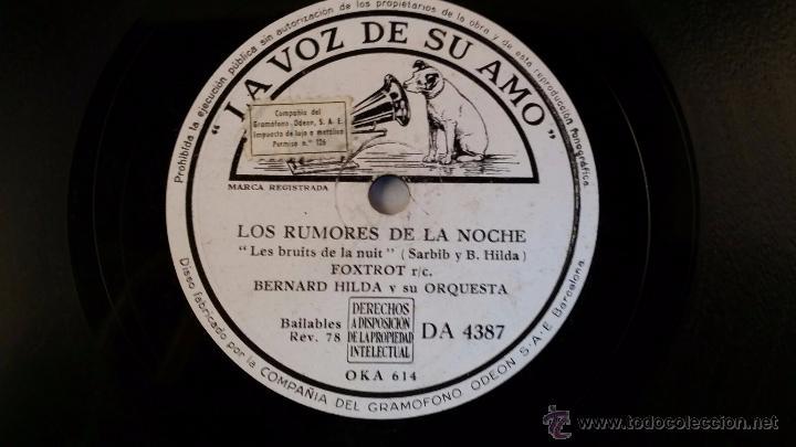 Discos de pizarra: Disco de pizarra de la voz de su amo - El bagabundo - Los rumores de la noche - Foto 2 - 48409327