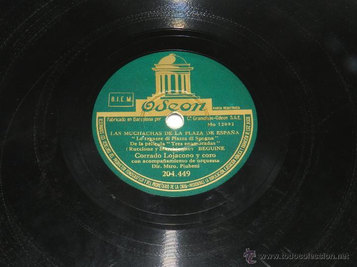 DISCO DE PIZARRA. CORRADO LOJACONO Y CORO. LAS MUCHACHAS DE LA PLAZA DE ESPAÑA / TARANTELA. CORRADO (Música - Discos - Pizarra - Bandas Sonoras y Actores )