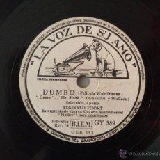 Discos de pizarra: DISCO DE PIZARRA DUMBO ,WALT DISNEY, REGINALD FOORT CON SU ÓRGANO MONUMENTAL MOLLER ARA CONCIERTOS.. Lote 48838399