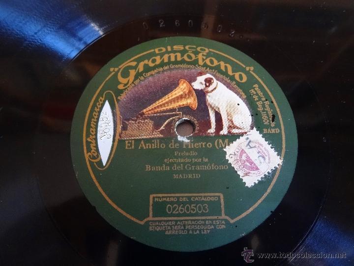 EL ANILLO DE HIERRO ZARZUELA BANDA GRAMOFONO MADRID 260503 LP PIZARRA 30 CM (Música - Discos - Pizarra - Flamenco, Canción española y Cuplé)