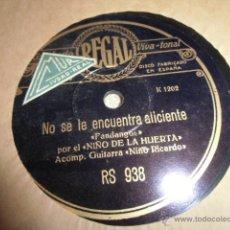 Discos de pizarra: NIÑO DE LA HUERTA, DISCO MUY BUEN ESTADO; DISCO DE PIZARRA. Lote 49496093