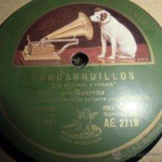 Discos de pizarra: DISCO DE PIZARRA EL GUERRITA. Lote 49527975