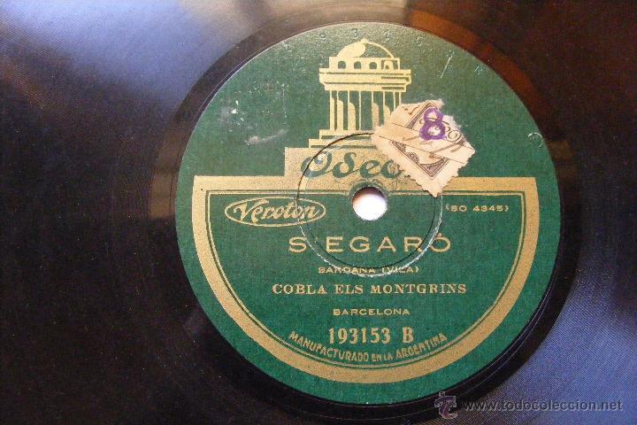 Discos de pizarra: COBLA ELS MONTGRINS Odeon 193153 78 PAQUITA / SEGARO - Foto 2 - 50112481
