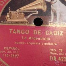 Discos de pizarra: DISCO DE PIZARRA LA ARGENTINITA. Lote 50153754