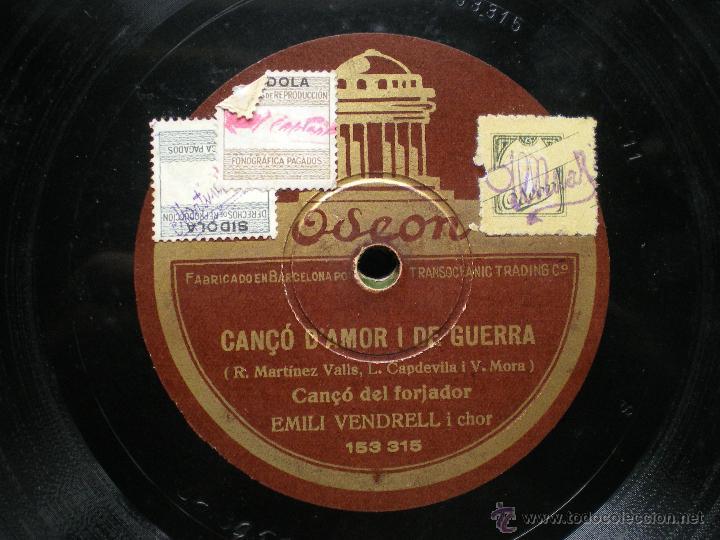 Discos de pizarra: DUO TANA LLURO EMILI VENDREL CANCO D AMOR I DE GUERRA ODEON PIZARRA PEPETO - Foto 2 - 50228470