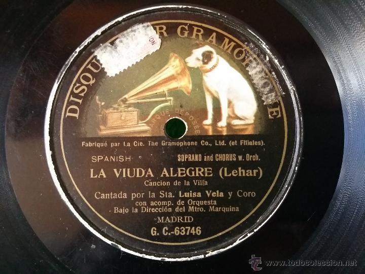 Discos de pizarra: DISCO DE PIZARRA LA VIUDA ALEGRE LEHAR CANTADA POR LUISA VELA Y CORO G C-63746 - Foto 3 - 50300816