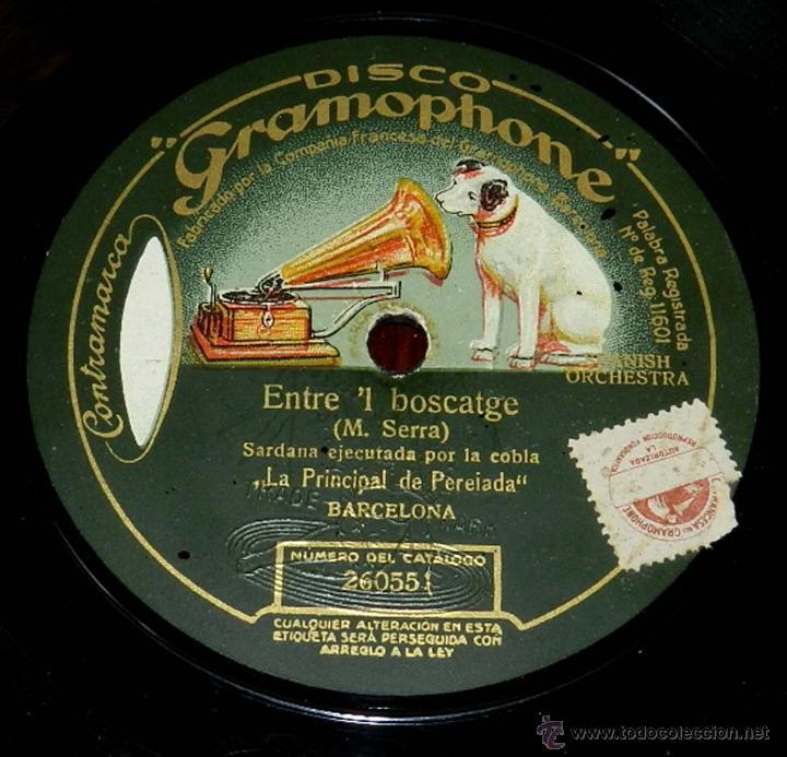 DISCO PIZARRA DE SARDANA EJECUTADA POR LA COBLA LA PRINCIPAL DE PEREIADA, SARDANA ENTRE EL BOSTCAGE (Música - Discos - Pizarra - Flamenco, Canción española y Cuplé)
