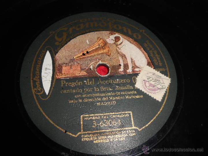 AMALIA MOLINA SOLEARES/PREGON DEL ACEITUNERO 25 CTMS 10 PULGADAS DISCO GRAMOFONO 3-63064 PIZARRA (Música - Discos - Pizarra - Flamenco, Canción española y Cuplé)