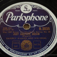 Discos de pizarra: BARNEY BIGARD & HIS ORCHESTRA ( BARNEY GOIN' EASY - JUST ANOTHER DREAM ) THE 1947 SUPER RHYTHM STYL. Lote 51323216