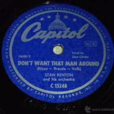 Discos de pizarra: STAN KENTON & HIS ORCHESTRA VOCAL BY ''JUNE CHRISTY'' (DON'T WANT THAT MAN AROUND - HARLEM HOLIDAY). Lote 51324540
