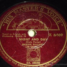 Discos de pizarra: MAXINE SULLIVAN WITH ORCHESTRA ( NIGHT AND DAY - KINDA LONESOME ) HIS MASTER'S VOICE. Lote 51344289