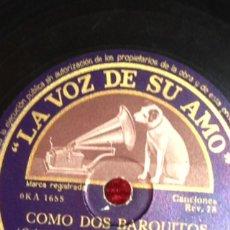 Discos de pizarra: DISCO PIZARRA 78 RPM.JUANITA REINA .COMO DOS BARQUITOS .CELOS. Lote 52565551