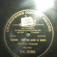 Discos de pizarra: Y DIGO DISCO DE GRAMÓPHONO DEL AÑO1906 RIGOLETTO DE GAITIERO PAGANINI. Lote 53335336