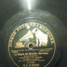 Discos de pizarra: DE CUBA CANTINELA DISCOS L SEÑOR GANDÍA ALEGRÍA DEL BATALLÓN 1906. Lote 53335451