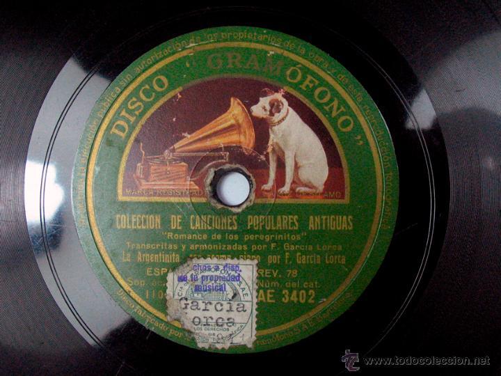 FEDERICO GARCIA LORCA AL PIANO. LA ARGENTINITA. COLECCIÓN DE CANCIONES POPULARES ANTIGUAS. GRAMOFONO (Música - Discos - Pizarra - Flamenco, Canción española y Cuplé)