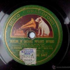 Discos de pizarra: FEDERICO GARCIA LORCA AL PIANO. LA ARGENTINITA. COLECCIÓN DE CANCIONES POPULARES ANTIGUAS. GRAMOFONO. Lote 53353350