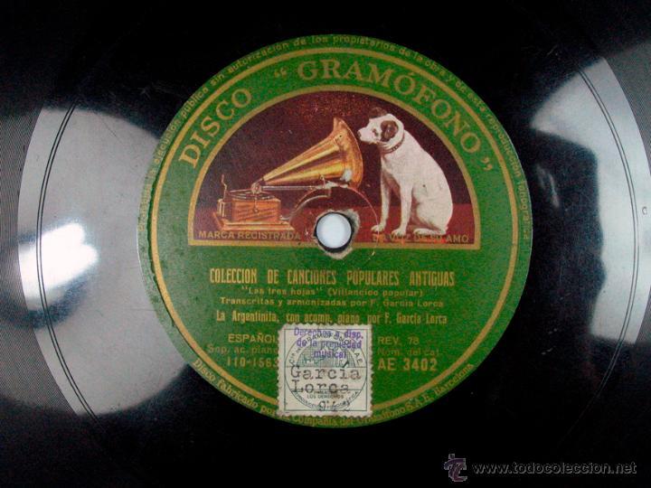 Discos de pizarra: FEDERICO GARCIA LORCA AL PIANO. LA ARGENTINITA. COLECCIÓN DE CANCIONES POPULARES ANTIGUAS. GRAMOFONO - Foto 2 - 53353350
