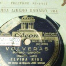 Discos de pizarra: DISCO DE PIZARRA DE ELVIRA RÍOS VOLVERÁS Y INCERTIDUMBRE. Lote 53442191